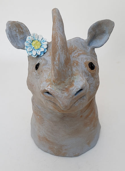 Rhiannon the Rhino Wearing a Daisy Headband - Artworks by Karen Fincannon