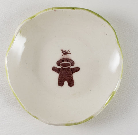 Tiny Plate with a sock monkey