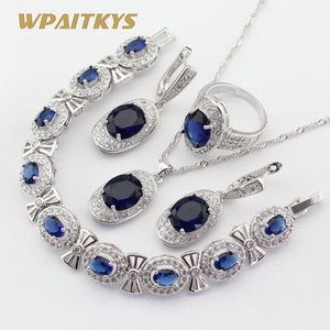 Silver Color Jewelry Sets Blue Crystal White Necklace Pendant Earrings Ring Bracelet