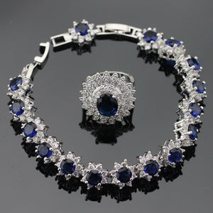 Silver Dark Blue White Cubic Zirconia Jewelry Set