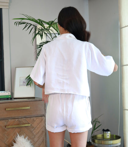 Ancud Boxy Button-Down Top and Shorts Set