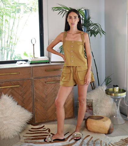 Maule Boxy Ribbon Tie Top and Cargo Shorts Set