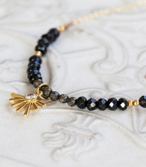 Calm Chakra Abundant Achiever Necklace - Black Spinel & Pyrite AB-ACH-AW1