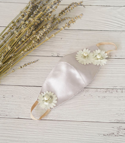 Face Mask with Pearl Floral Appliqué (Silver)