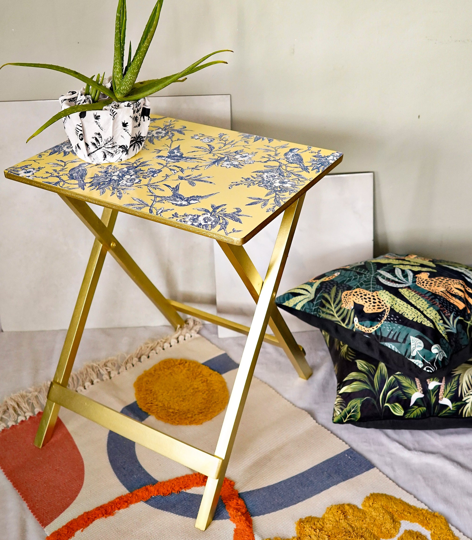 Foldable Tray Table - Blue Birds on Yellow
