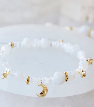 Calm Chakra Ethereal Bracelet - Moonstone, Clear Quartz, & Star-Moon Charms ETH-AW1