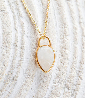 Calm Chakra Ethereal Necklace - 12mm Moonstone Teardrop Pendant ETH-BW3