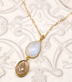 Calm Chakra Ethereal + Purify Necklace - 20mm Moonstone & 18mm Smokey Quartz Pendant ETHPU-AW1