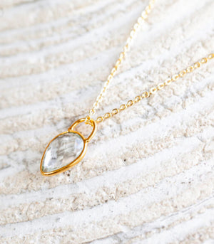 Calm Chakra Heighten Necklace - 12mm Clear Quartz Teardrop Pendant HGT-AW4