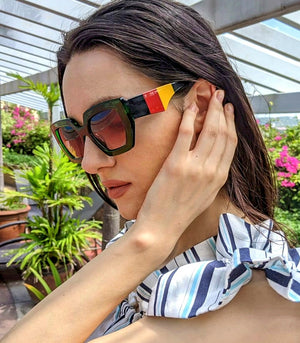 Asella Retro Sunglasses with Striped Temples