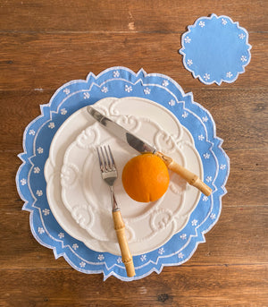 Covilha Scalloped Placemats + Coasters (Set of 6) - Cornflower Blue