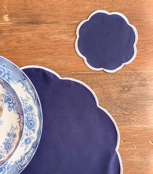 Batalha Scalloped Placemats + Coasters (Navy)