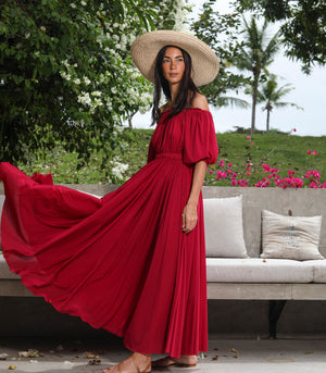 Mochudi Off-the-Shoulder Puff Sleeve Maxi Dress