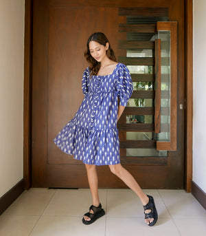 Kajiado Linen Puff Sleeve Dress with a Tiered Hem