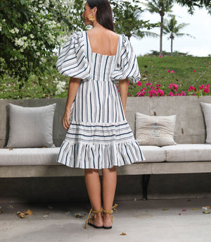 Icacos Puff Sleeve Dress with Tiered Hem