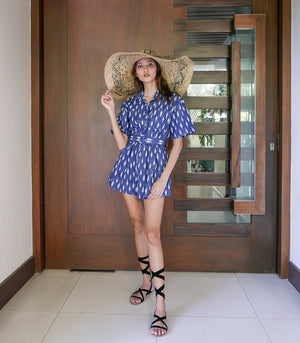 Guasipati Belted Romper (Printed Faded Blue)