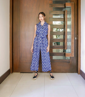 Guaranda Button-Down Sleeveless Jumpsuit (Printed Faded Blue)