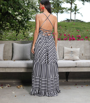 Mausica Tiered Maxi Dress with a Criss Cross Back
