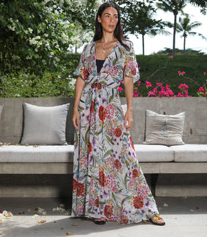 Etsha Sheer Floral Robe Dress (Mixed Blooms)