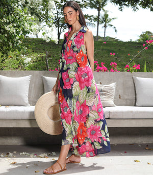 Sebina Sleeveless Caftan with Collar