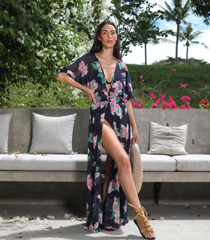 Etsha Sheer Floral Robe Dress (Pink Blooms)