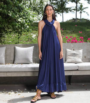 Serowe Cowl Neck Halter Maxi Dress with Tiered Hem Detail