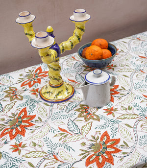 Guda Birds of Paradise Hand Block Printed Table Cover (6-8 seater)