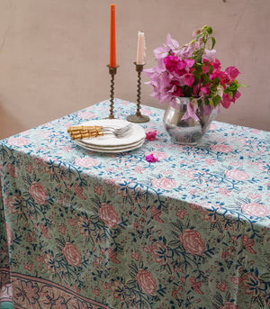 Naya Hand Block Printed Table Cover (8-10 seater)