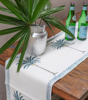 Palm Tree Hand Block Printed Table Runner