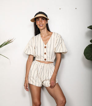 Noord Puff Sleeve Crop Top and Shorts Set (Stripes)