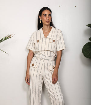 Pomalca Button-Down Top and Pants Set