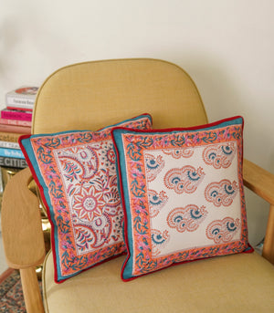 Kusum Hand Block Printed Cushion Cover (40x40cm)- Red