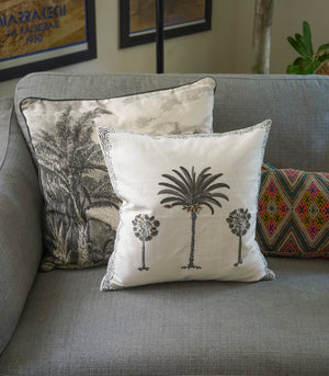 Palm Tree Hand Block Printed Duck Fabric Cushion Cover (40x40cm)