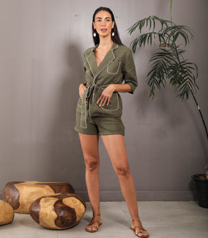 Sehitwa Three-Quarter Sleeve Blazer-Style Top and Shorts Set