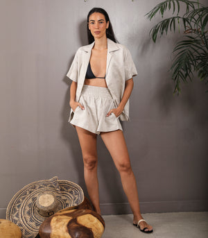 Shorobe Boxy Button-Down Top and Shorts Set