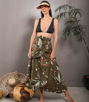 Aranos Reversible Printed Wrap Skirt
