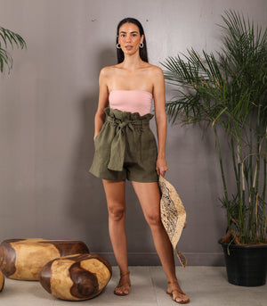 Thabala Paper Bag Shorts (Moss)
