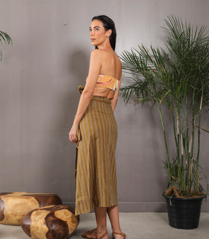 Vaslui Midi Wrap Skirt (Coyote Stripes)
