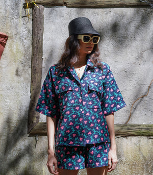 Ezeiza Boxy Button-Down Top and Shorts Set (Retro Floral)