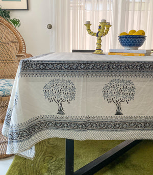 Naya Hand Block Printed Table Cover (8-10 seater) - Tree