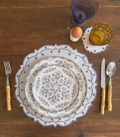 Covilha Scalloped Placemats + Coasters (Set of 6)