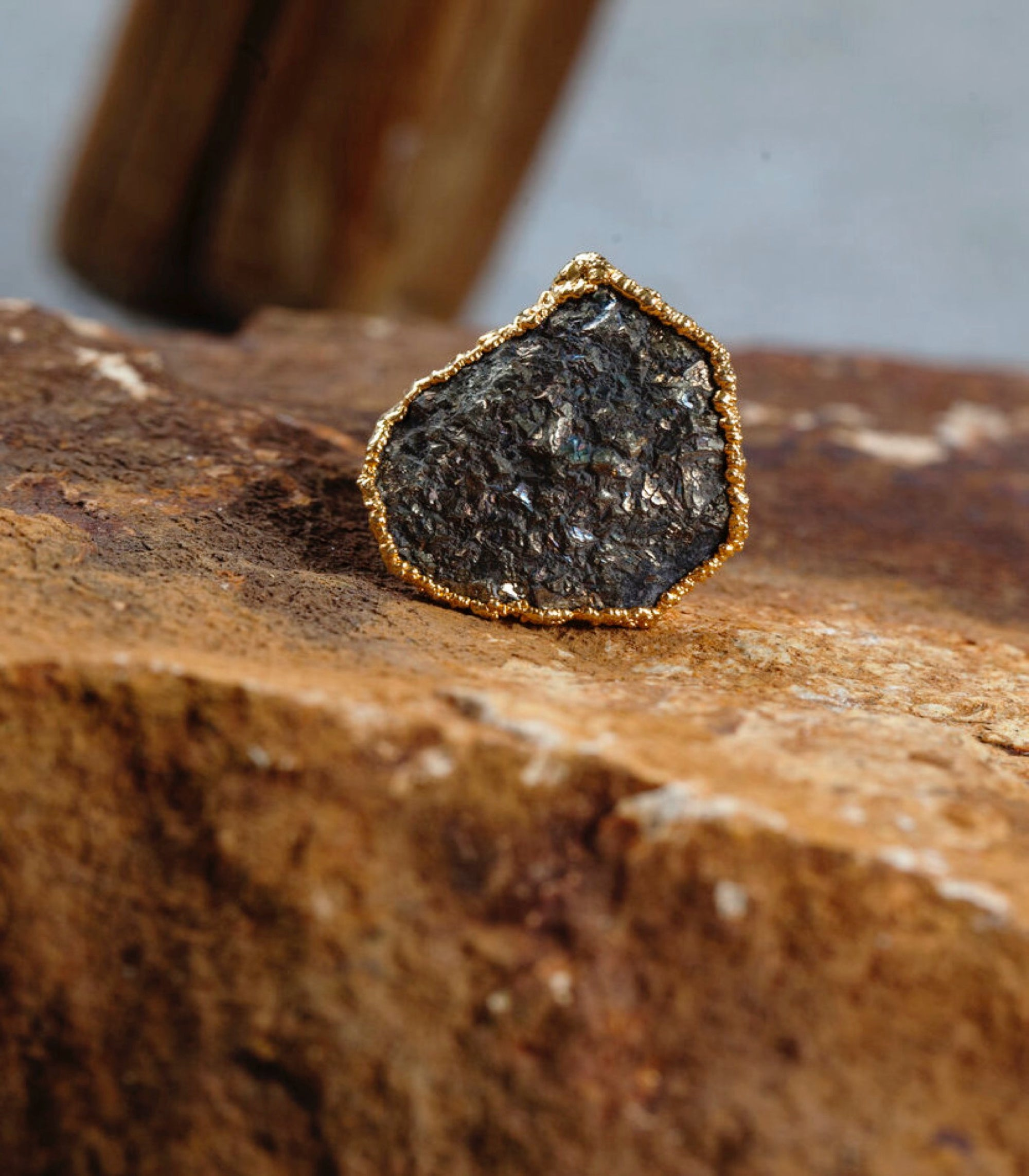 Calm Chakra Infinite Abundance Ring - Raw Pyrite INF-AU1