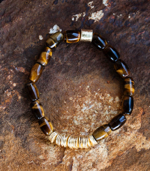 Calm Chakra Live the Dream Bracelet - Tiger Eye Barrel Crystals LIVE-AU1