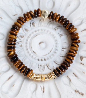 Calm Chakra Live the Dream Bracelet - Tiger Eye Heishi Crystals LIVE-AU2
