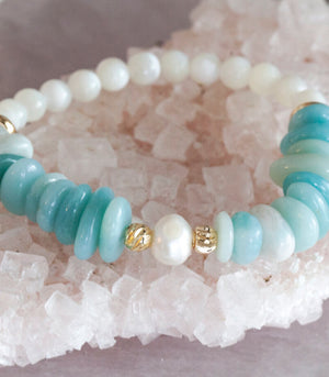 Calm Chakra Perfectly Me Bracelet - Amazonite & Pearls PERF-DW1