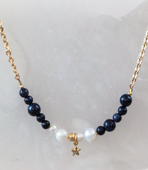 Calm Chakra Reach for the Stars Beaded Necklace - Blue Sandstone, Pearl & Star Pendant REACH-AW1