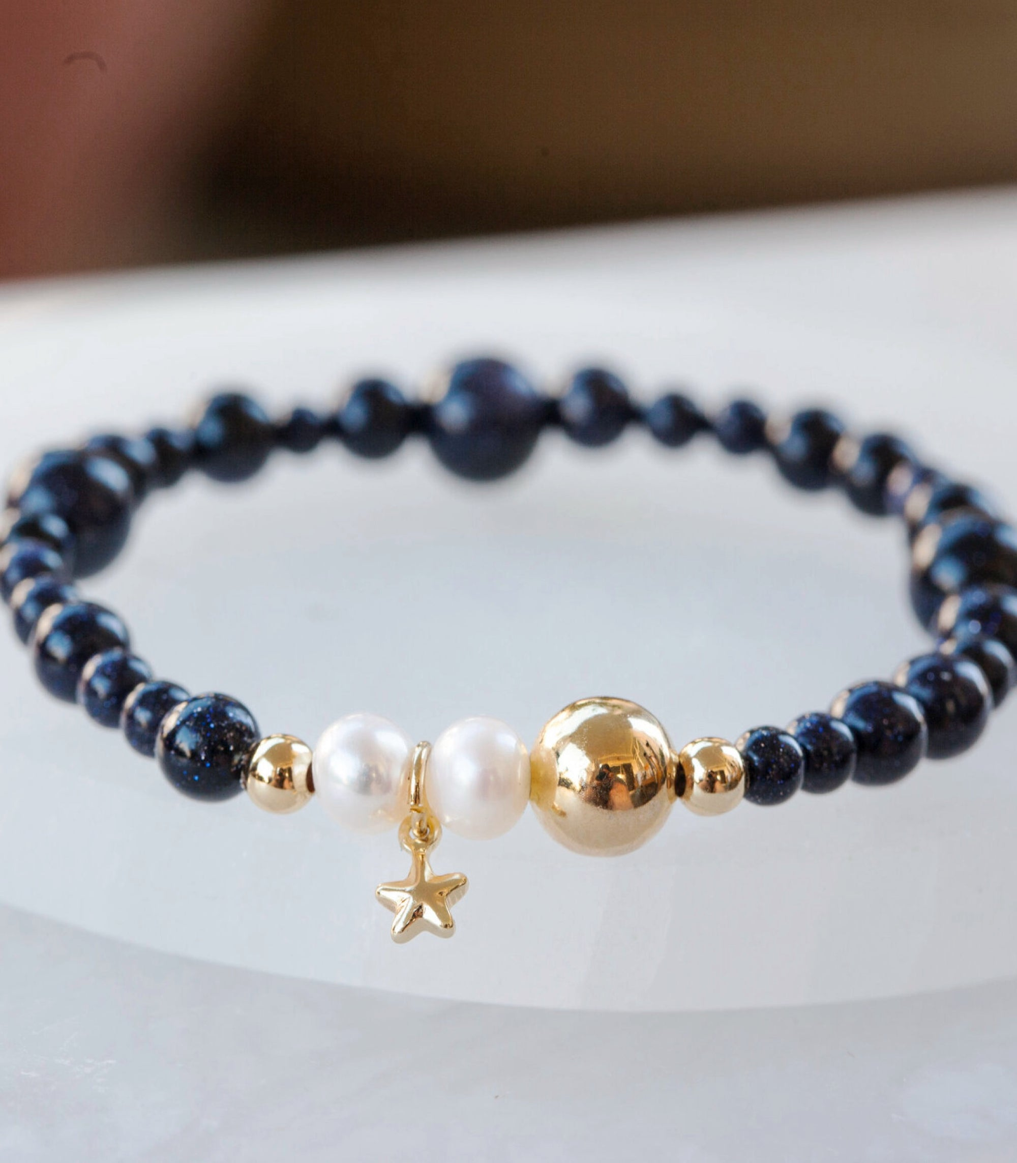 Calm Chakra Reach for the Stars Bracelet - Blue Sandstone, Pearl, & Star Charm REACH-AW2