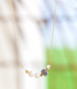 Calm Chakra Serendipity Beaded Necklace - Labradorite, Pearl, & Clear Quartz SPTY-CW1