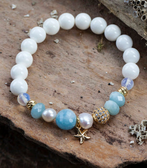 Calm Chakra Tranquility & Truth Bracelet - Aquamarine, Pearl, Opal, White Shell TT-CW1