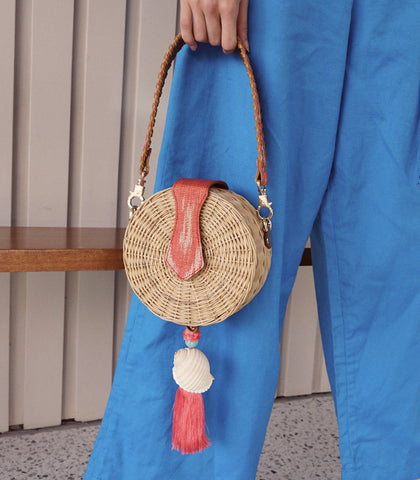 Bag - Araw Round Wicker Sling Bag - Orange
